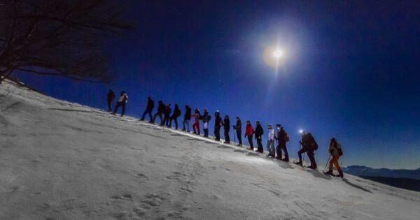 ciaspolata tramonto notturna monte autore simbruini lazio recovery energy Recovery Energy | Experience Emotions Canyoning Lazio, Abruzzo, Umbria. Escursionismo e Survival Ciaspolata al Tramonto